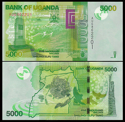 Africa - Uganda 5000 Shillings Paper Money,2015,P-New,Uncirculated .1Pieces