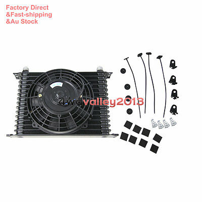 """Engine Racing 15 ROW 10AN Transmission Oil Cooler & 7"""" Electric Thermo Fan Kit"""