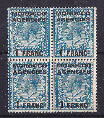 MOROCCO AGENCIES 1917-1924 Mint NH KGV 1 Fr on 10d Block of 4 SG #199 CV £30+