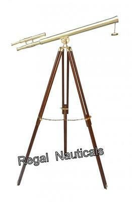 Brass Double Barrel Griffith Telescope With Brown Tripod Stand Nautical