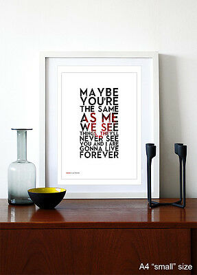 OASIS ❤ Live Forever ❤ song lyric poster art Limited Ed Print - 5 sizes #21