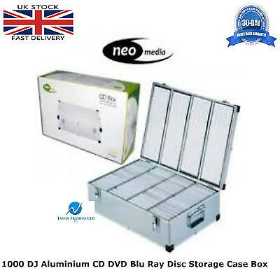 2 x Neo Media 1000 Capacity DJ Aluminum SILVER CD DVD Carry Case Box Partitioned