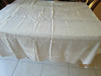 Off White Square Damask Tablecloth
