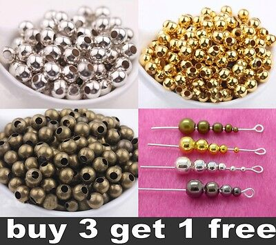 Wholesale Metal Round Spacer Beads 2.5mm 3mm 4mm 5mm 6mm 8mm DIY