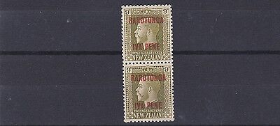 Cook Is 1919  S G 54B      9D Vertical Pair  Mh & Mnh