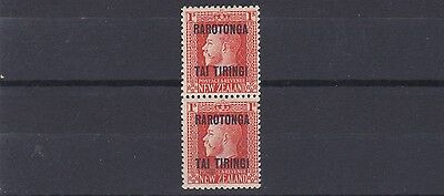 Cook Is 1919  S G 55B      1/-  Vertical Pair  Mh & Mnh
