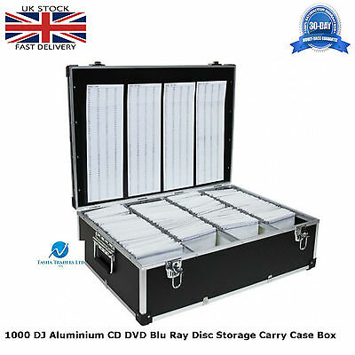 1 x Neo Media 1000 Capacity DJ Aluminum BLACK CD DVD Carry Case Box Partitioned