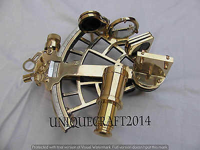 """Antique Nautical Sextant 9"""" Working Heavy Brass Astrolabe Maritime Instrument."""