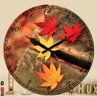 "Wall Clock 15"" Maple Leaf Vintage Rustic Style Decor Art Shabby Chic Wooden Home"