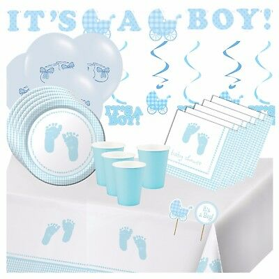 BLUE BABY PLAID - Baby Shower Party Tableware,Decorations,Balloons,Banners,Boy