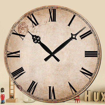 "Wall Clock 15"" Roman Vintage Style Rustic Decor Retro Shabby Chic Home Art Fun"