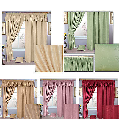SICILY LUXURY LINED Curtains Pencil Pleat Rose Wine Terracotta Green