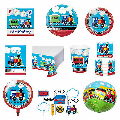 All Aboard Steam Train Birthday Party Tableware Napkins Plates Cups Tablecover