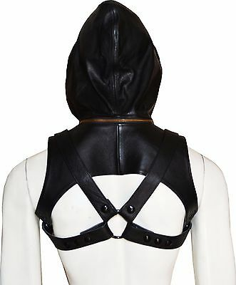 LEATHER SLEEVELESS HARNESS HOODIE Gay Club Wear Costumes with jock men and women