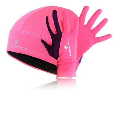 Ronhill Womens Pink Purple Thermalite Hi Viz Beanie Hat And Gloves Set Kit