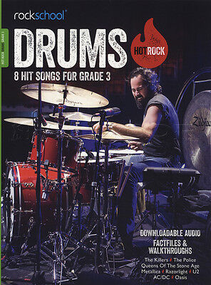 Rockschool Drums Hot Rock Grade 3 Music Book with Audio AC/DC Metallica Oasis U2