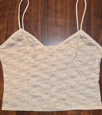 Vintage Sears Lace Pattern Camisole Size 34 in Beige Shows Midriff