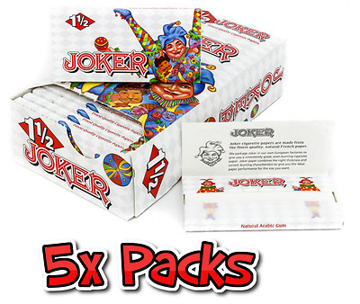 5x Packs ( Joker 1.5 1 1/2 ) Cigarette Rolling Paper Papers RYO - Fast Free Ship