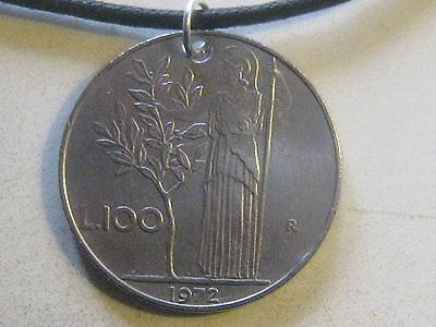 28Mm Vintage Italy Italian Minerva/ Athena Goddess Coin Silver Pendant Necklace