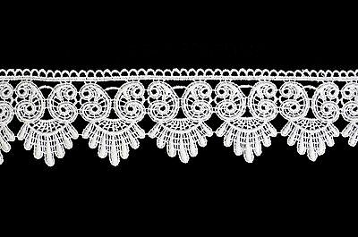 """Lily 3"""" White or Ivory Scalloped Victorian Guipure Venice Lace Trim by Yardage"""