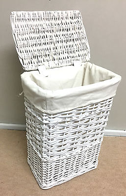 Small White Wicker Basket Laundry Storage Bin Rattan Lined Lidded Square