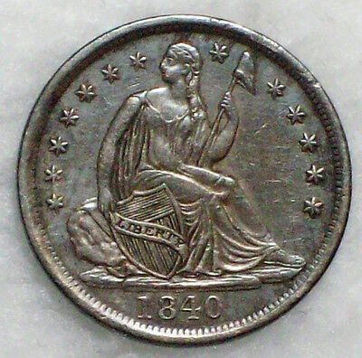 1840 Seated Liberty HALF DIME SILVER V-5 Nice AU Detailing Darker Tone Authentic
