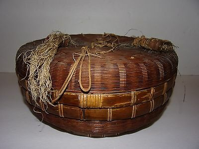 """Antique 11"""" Chinese Sewing Basket Tassels Coins Wicker Woven EUC"""