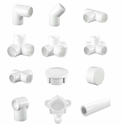 White Display (Furniture) Grade PVC Pipe & Fittings. 3 way Elbows, Corners, etc