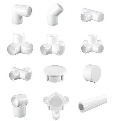 White Display (Furniture) Grade PVC Pipe and Fittings. (3 way Elbows, Corners)