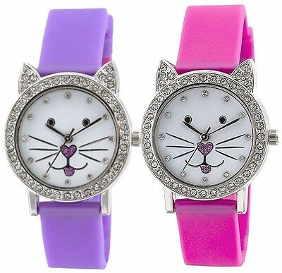 Tikkers Kids White Dial Analogue Display Purple/Pink silicone Strap Watch TK0107
