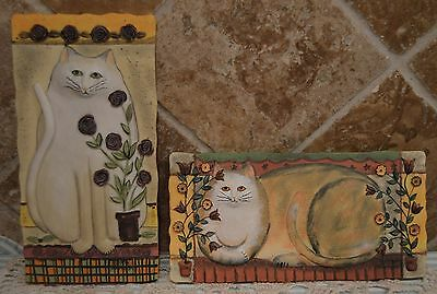 Two Resin Cat 3D Plaques By E. Smithson~Buttercup And Snow Rose~Euc~Purrfect