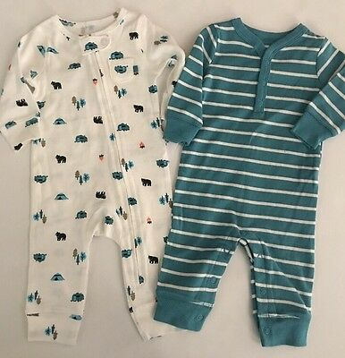 Carters Baby Boy 2 Coveralls Size 3 6 9 Months Teal White Bear Forest Layette
