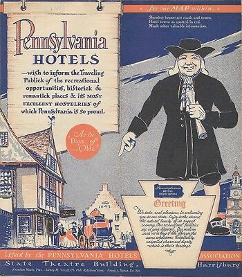 1936 PENNSYLVANIA HOTELS ASSOCIATION Road Map Directory Room Rates Managers