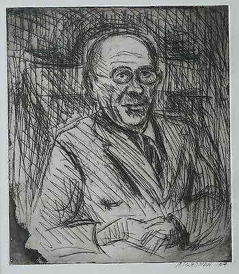 Mid-Century Expressionist Etching Portrait Of A Man Signed M. Soula Gerber 1954