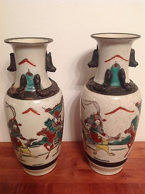 Pair Antique Republic Period Chinese Vases, Warriors on Horseback