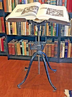 Antique Victorian Adjustable Cast Iron & Wood Dictionary, Book or Bible Stand