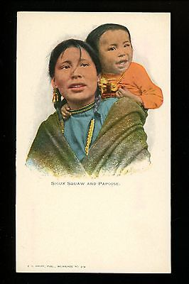 Native American Indian postcard Sioux Squaw & Papoose Kropp #273 Vintage