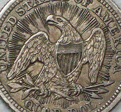 1853 Seated Liberty QUARTER - RAYS & ARROWS *SILVER* XF / AU Detailing Authentic