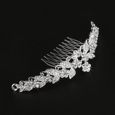 Wedding Tiara Rhinestones Crystal Flower Bridal Headband Princess Crown w/ Comb