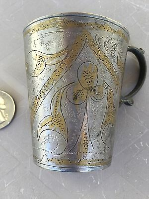 Rare Antique Egyptian Sterling Silver With Amazing Pharaonic Decorations Cup1900