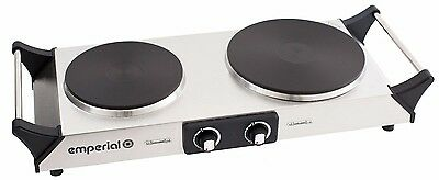 Emperial Hot Plate Double Electric Cooker Table Top Hob Stainless Steel Portable