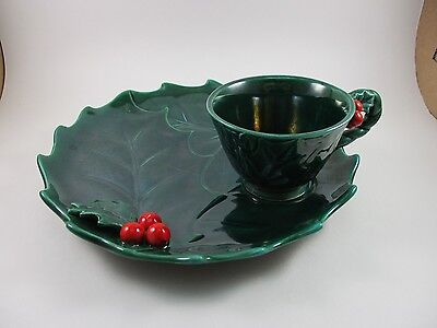 Vintage 50's Lefton Christmas Green Holly Berry Tea Cup & Toast Snack Plate Set