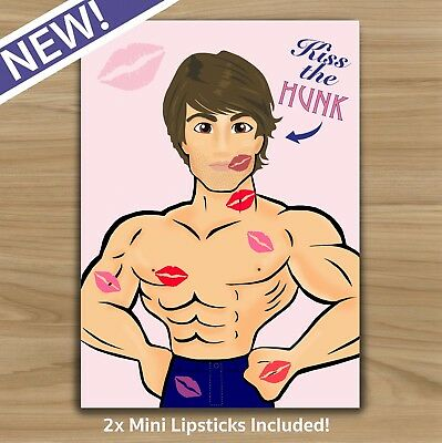 Kiss The Hunk - Hen Do Night Game - Includes 2X Lipstick - 20+ Player - Party