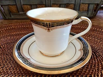 Noritake Fine Bone China Cup and Saucer Gold and Sable Pattern #9758