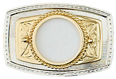"""New! Silver/Gold Coin Belt Buckle, 3-3/8"""" x 2-1/4"""""""" MADE USA"""