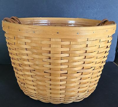 Longaberger Large Hostess Only Corn Basket Leather Handle With Liner - 1997