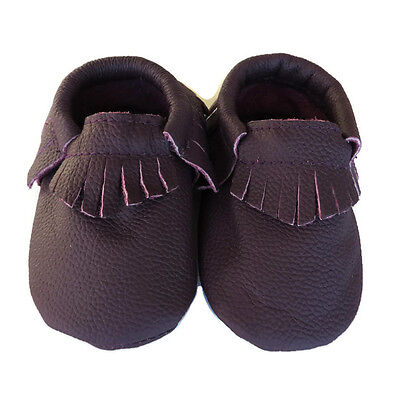 Moccasins real Leather purple appx.0-18mths baby toddler footwear Winnie shoes
