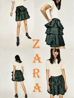 020c55b189d ZARA High Waist Puffy Ruffle Skirt Bottle Green New R 69.90 Frilled Skirt  XS S L