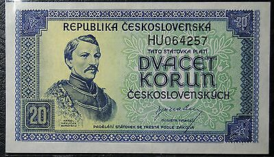 Czechoslovakia- 20 Korun ND(1945) Pick#61a- issued note UNC.