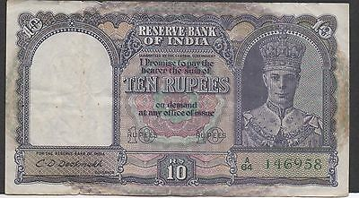 India  10 Rupees  ND. 1943  P 24 Prefix A/64  Circulated Banknote